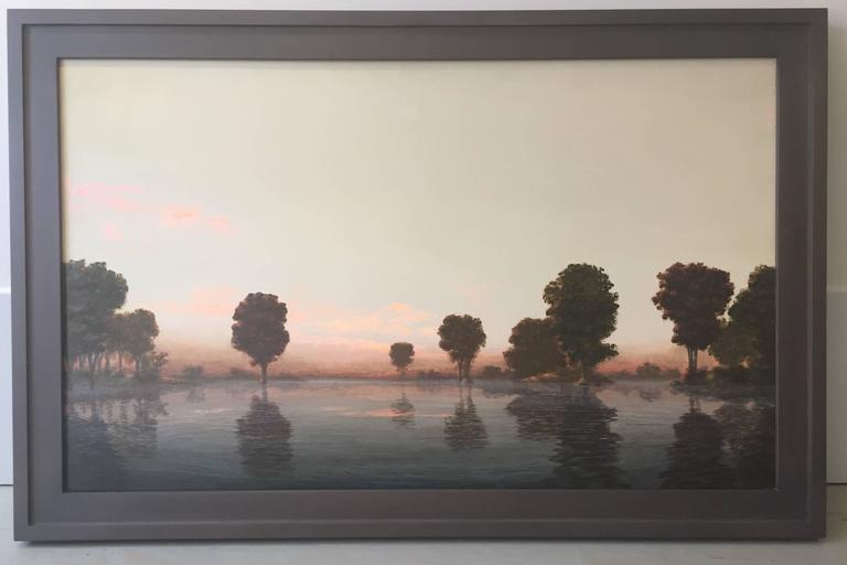 Stephen Hannock Landscape Painting - Flooded River  Rose Dawn