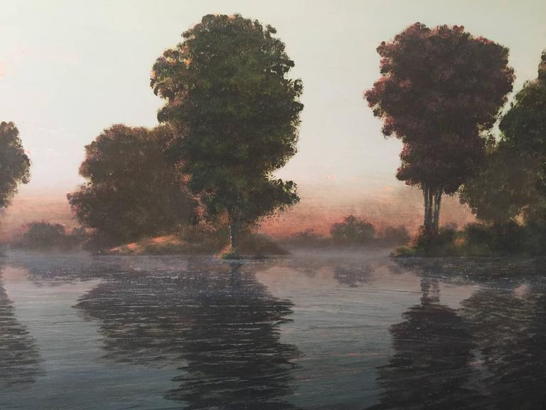 Flooded River  Rose Dawn - Contemporary Painting by Stephen Hannock