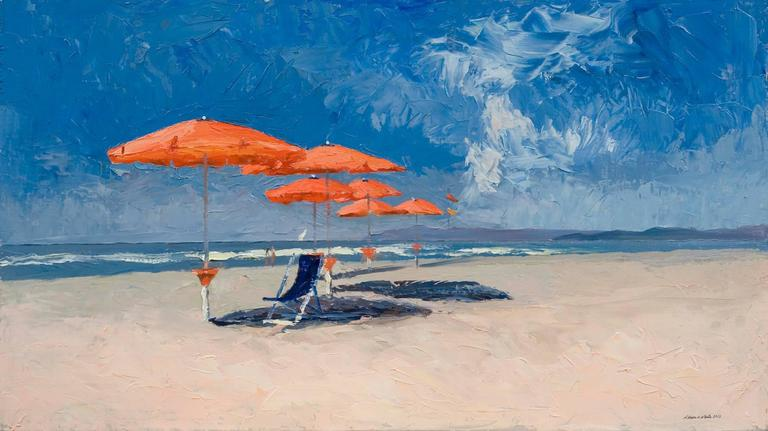 Nelson H. White Landscape Painting - The Red Umbrellas