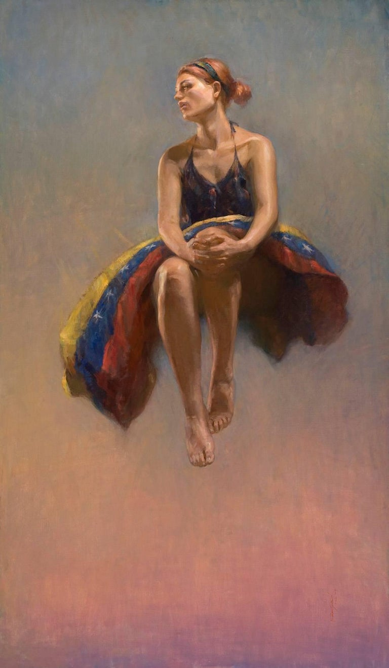 Angel Ramiro Sanchez Figurative Painting - With My Eyes on Your Horizon