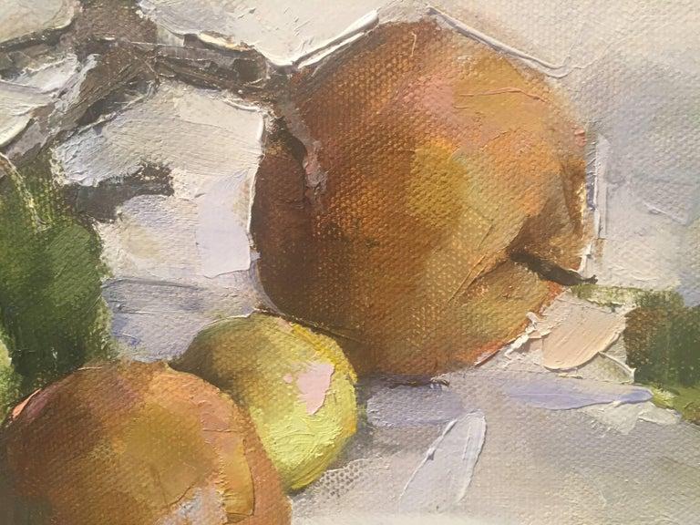 Green Street - Gray Still-Life Painting by Beth Rundquist