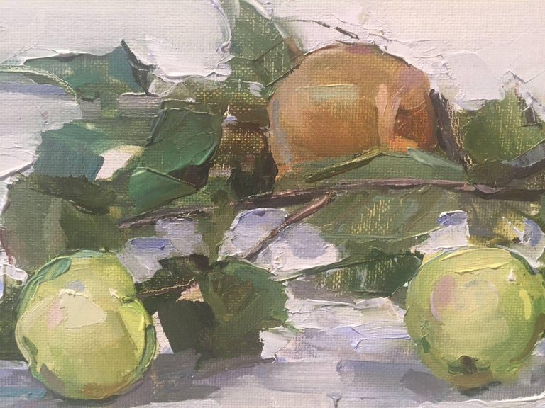 Painted from life, asian pears on a branch, placed on a white cloth.  A resident of East Hampton, New York, Beth Rundquist paints portraits, still lifes, figures and plein air landscapes. Its refreshing to see an academically trained painter, who