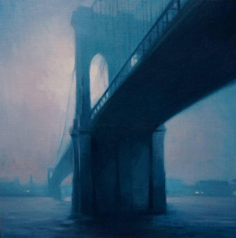 Painted in collaboration with Steven Forster; two artists, one canvas. A view of the Brooklyn Bridge from underneath, expanding across the east river.  Artist Bio Born in Memphis, Tennessee in 1980 Bauman's family soon after that relocated to Miami,