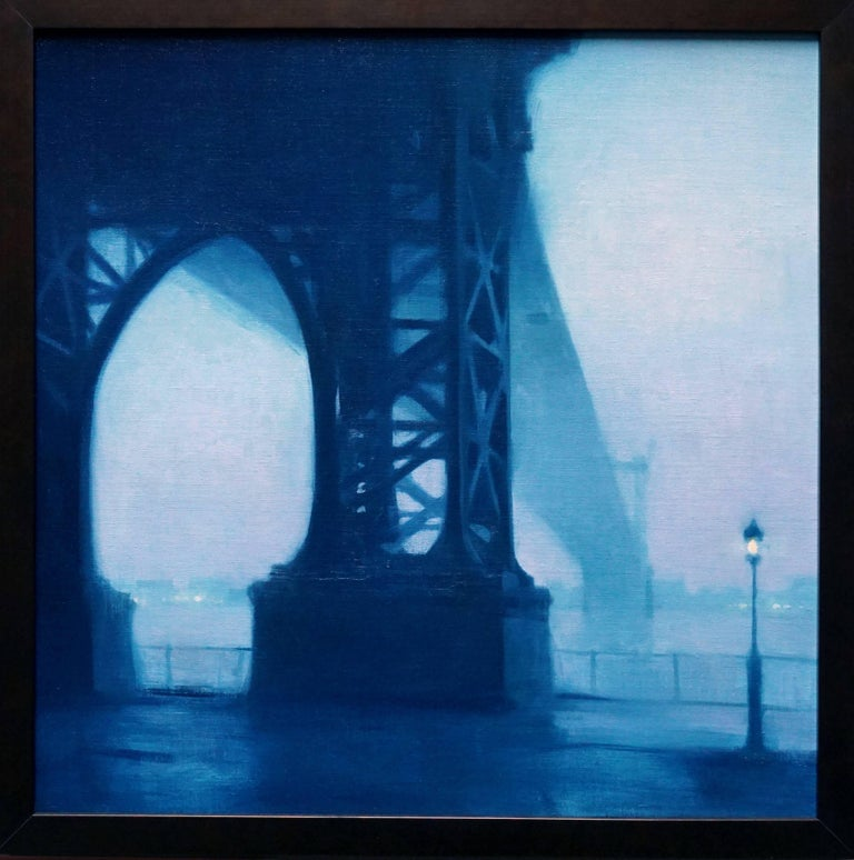 Painted in collaboration with Steven Forster; two artists, one canvas. An image of the Williamsburg bridge from beneath. A skinny lamppost on the right exemplifies the massive scale of the base of the bridge that spans from Brooklyn to Lower