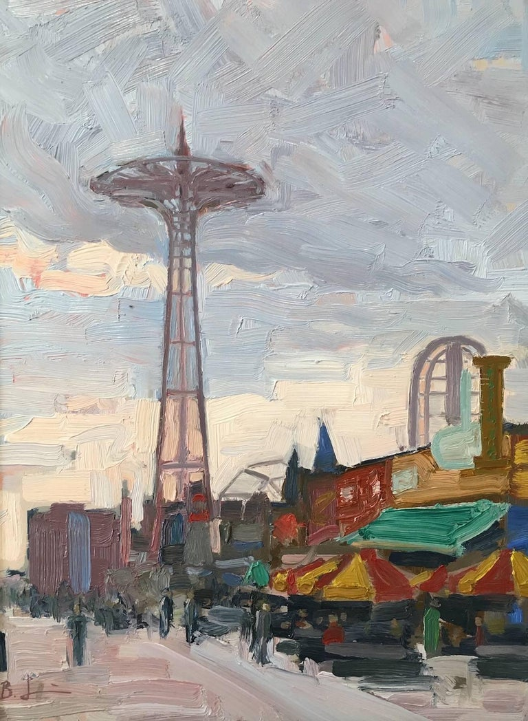 Benjamin Lussier Landscape Painting - Coney Island Boardwalk