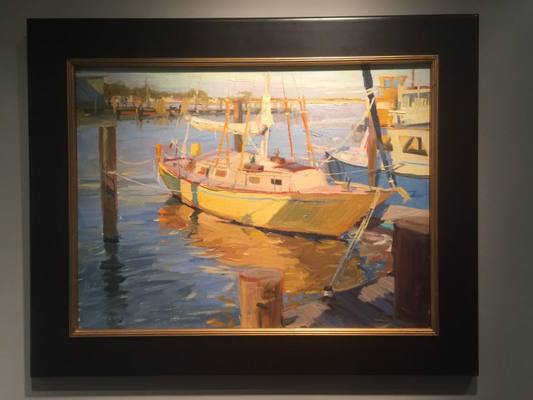 Greenport Shipyard, Afternoon - Painting by Thomas Cardone