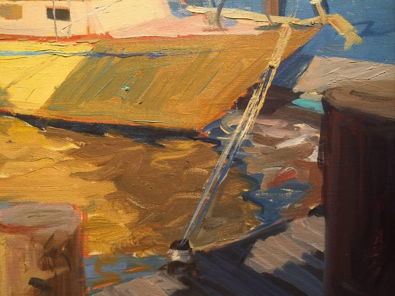 Greenport Shipyard, Afternoon - Gray Landscape Painting by Thomas Cardone