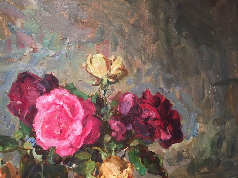 Roses - Brown Still-Life Painting by Ben Fenske