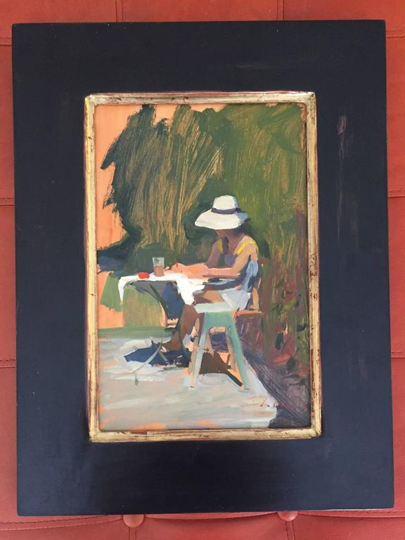 """""""Tina Painting"""", was painted en plein-air at Dalessio's Italian Countryhouse in Florence, Italy. His muse, his wife Tina, sits outdoors and works on a painting we cannot see. Green brushstrokes create a backdrop, loosely. Her sun-hat covers her"""