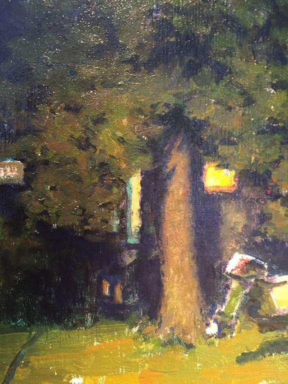 Painted en plein air, at night, a small boat sits on wheels, on a front lawn. The house is hidden beneath the shade of a tall tree that takes up the center of the image. Small Square windows gleam with light from inside, a green light connotes a