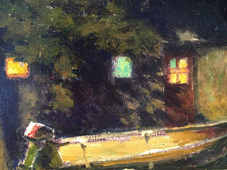 Boat for Sale with Motor - Black Landscape Painting by Carl Bretzke