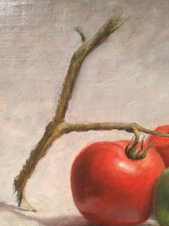 Painted from life, a bunch of tomatoes on a vine lay just behind a full voluptuous summer fresh red tomato. Painted in oil, in the style of trompe l'oeil against a monochromatic backdrop.   John Morfis was born in Glen Cove, Long Island in 1976. His