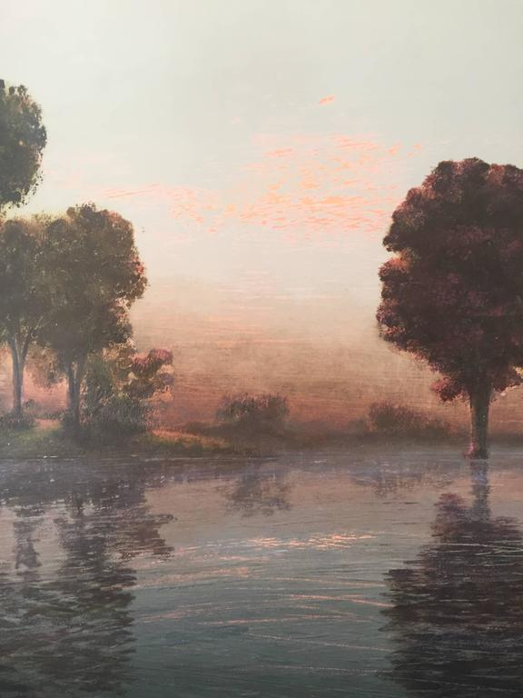 Flooded River  Rose Dawn - Painting by Stephen Hannock