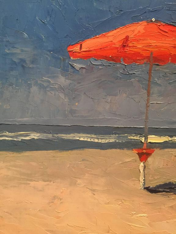 The Red Umbrellas - American Impressionist Painting by Nelson H. White
