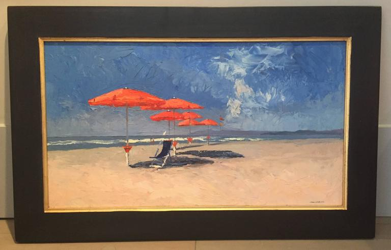 The Red Umbrellas - Painting by Nelson H. White
