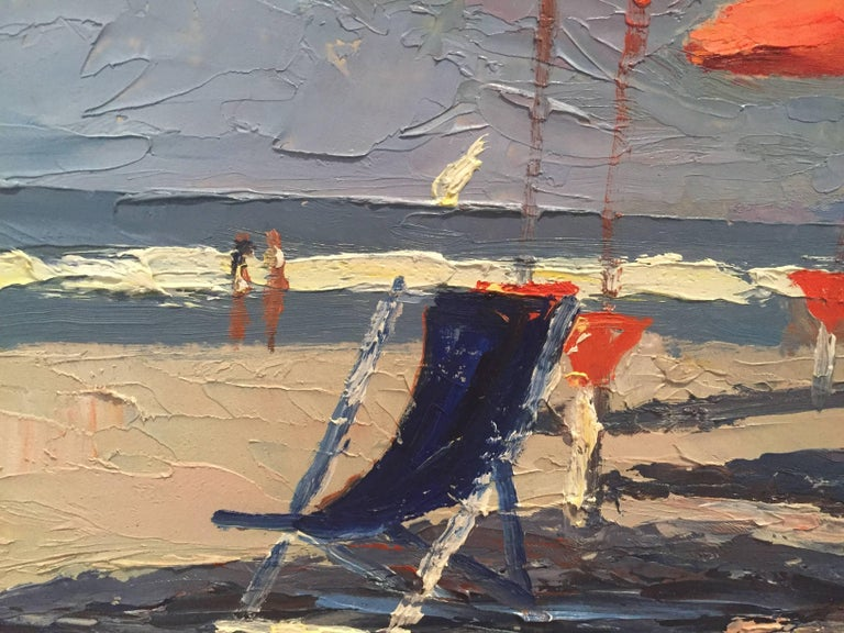 Painted en plein air on a beach in Italy, Nelson Holbrook White captures the bright light on a sandy beach. Cirrus clouds whirl around in the sky above a horizon of distant land. Six red umbrellas stand gathered in a row, awaiting sunbathers. A