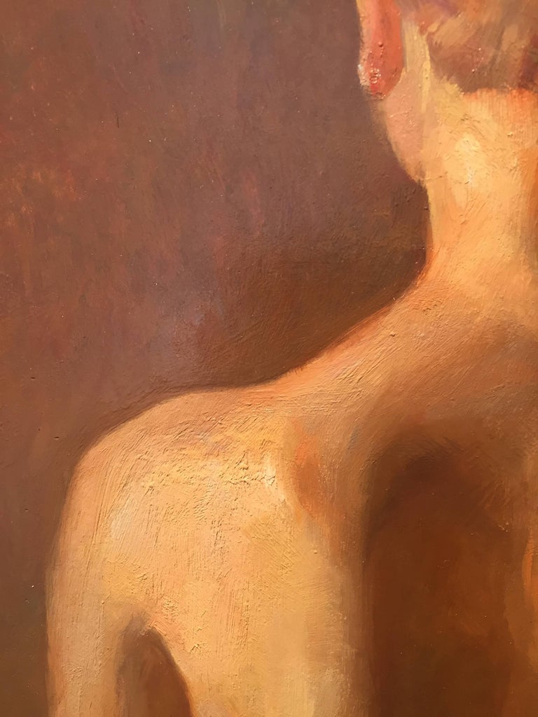 Nude, Back - Brown Nude Painting by Angel Ramiro Sanchez