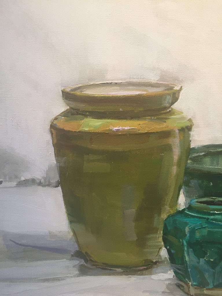 The Blues - Gray Still-Life Painting by Beth Rundquist