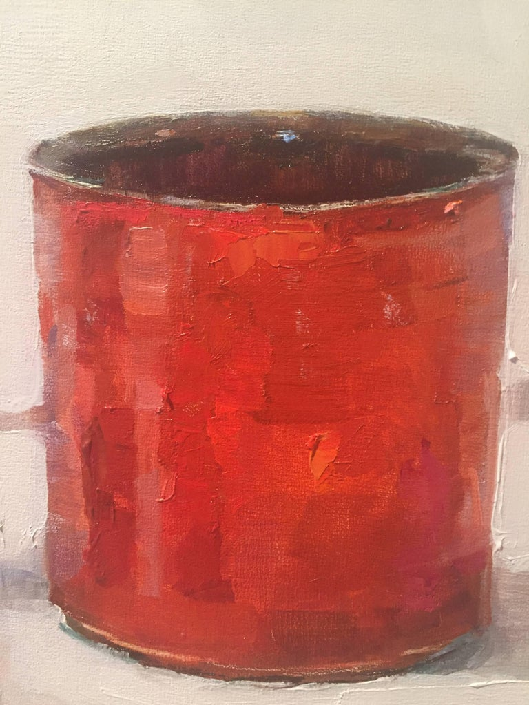 Ink Well Red - Beige Still-Life Painting by Beth Rundquist