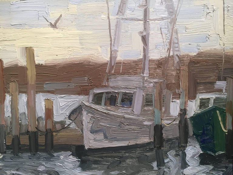 Painted en plein air in Montauk, New York. A fishing boat leaves the marina and heads out to sea to find todays catch. The water is a silvery blue, with hints of white, reflecting the overcast sky above. Lussier exaggerates the motion of the water