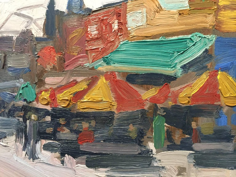 "Painted en plein air on the Boardwalk at Coney Island, colorful shops are open for business and lively with people. The sky is a hazy periwinkle and is cut by the long abandoned ""Parachute Jump""; a dangerous 250ft high ride that"