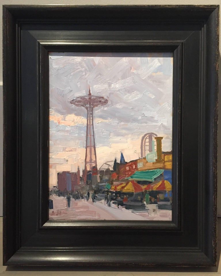 Coney Island Boardwalk - Painting by Benjamin Lussier