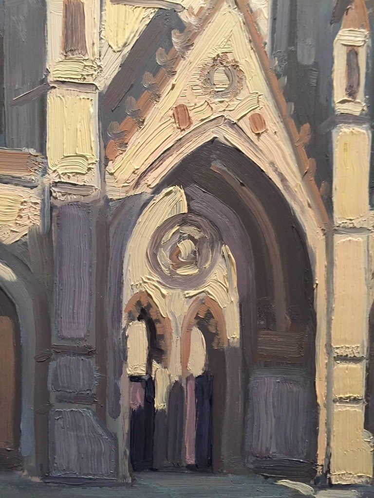 Painted en plein air in NYC, the beautiful Cathedral of Saint John the Divine on Amsterdam Avenue in Manhattan's Morningside Heights. The byzantine-gothic revival structure's sun soaked facade glows. A Blue sky beyond meets green foliage at the
