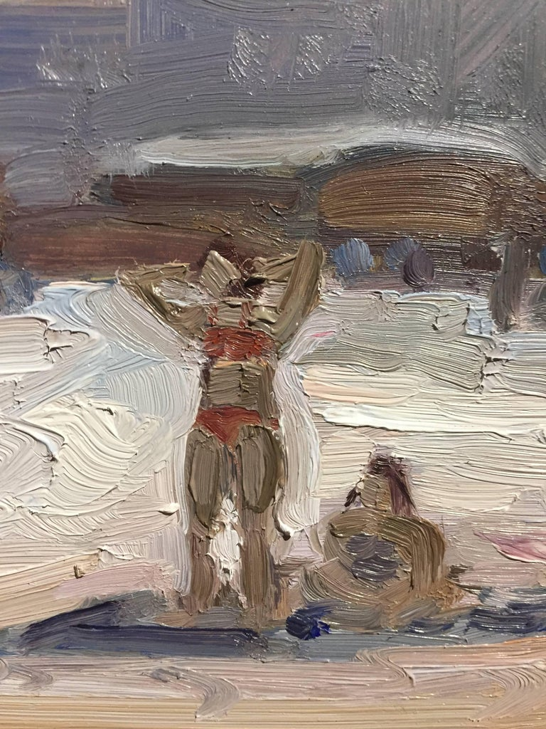 Beach Babe - Gray Figurative Painting by Benjamin Lussier