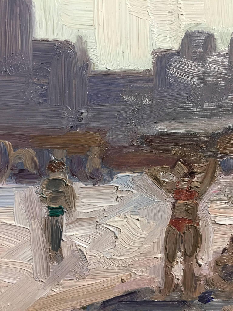 Painted en plein air at a beach near Coney Island, Brooklyn, an expressionistic scene with figures in the sandy foreground and a geometric monochromatic skyline. The