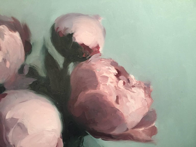 Peonies - American Realist Painting by Stephen Bauman