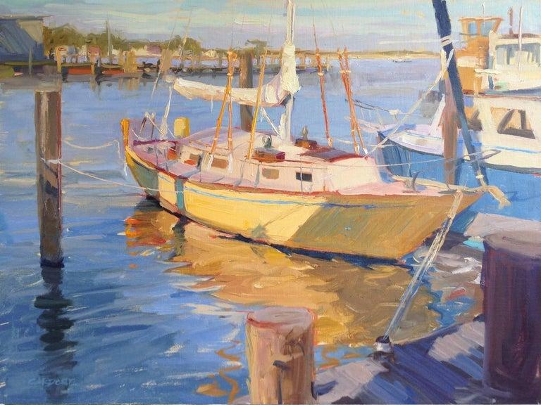 Thomas Cardone Landscape Painting - Greenport Shipyard, Afternoon