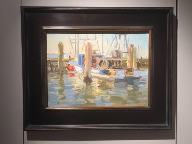 Town Dock, Hampton Bays - Painting by Thomas Cardone