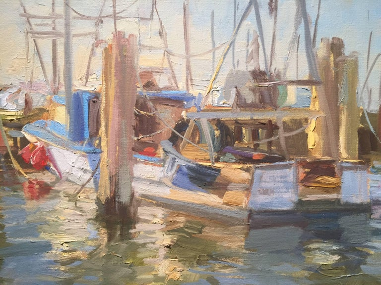 Town Dock, Hampton Bays - Brown Figurative Painting by Thomas Cardone