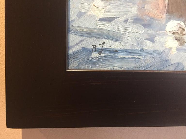 Monhegan Downeasters - Gray Landscape Painting by Benjamin Lussier