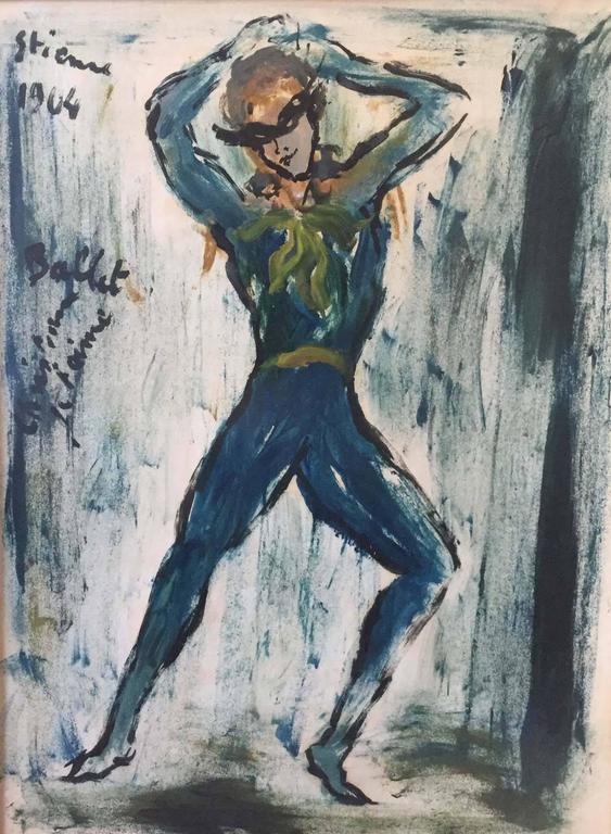 Ballet Dancers PAIR - Painting by Roger Etienne