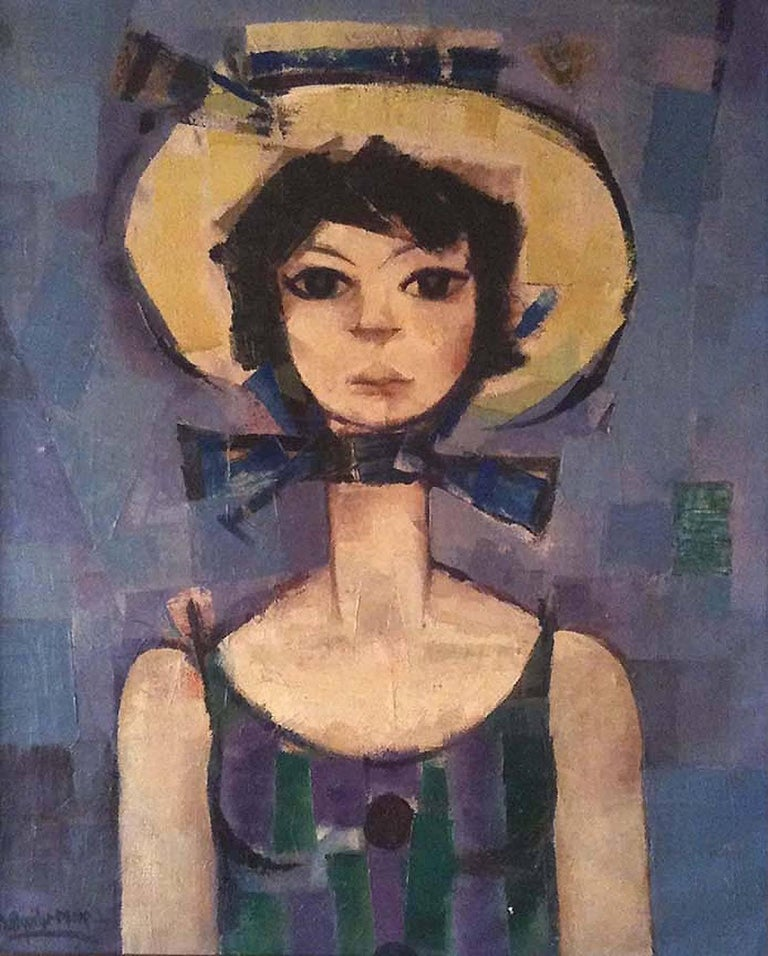 Ramon aguilar more young woman with hat painting for for Sala nonell