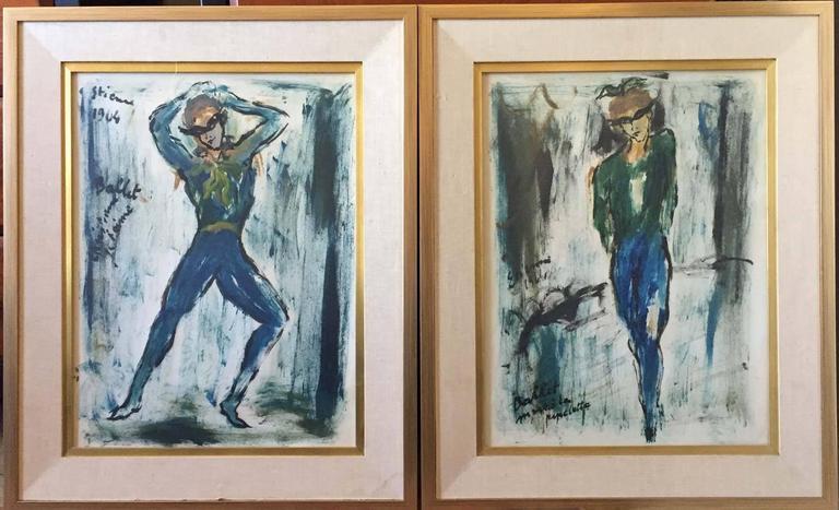 Roger Etienne Figurative Painting - Ballet Dancers PAIR