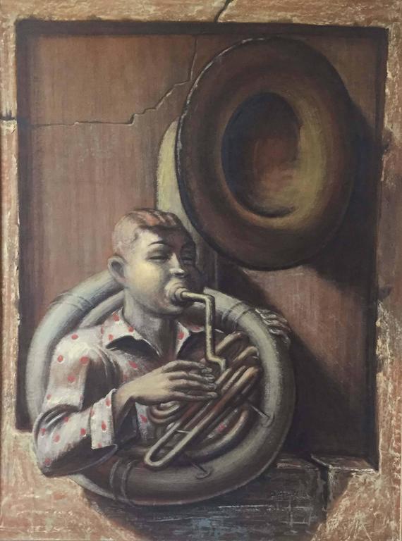 Albert Pels Figurative Painting - Horn Player