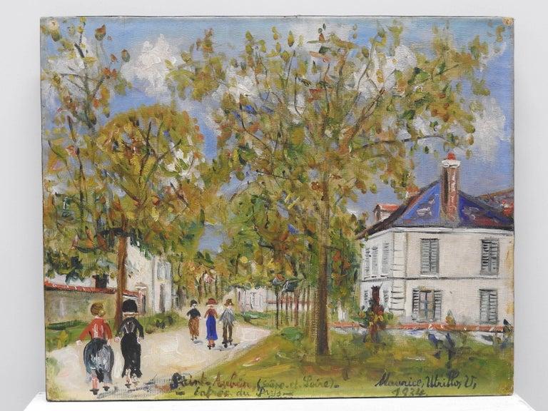 Maurice Utrillo Landscape Painting - Entrée du pays a Saint-Aubin (Saone-et-Loire)