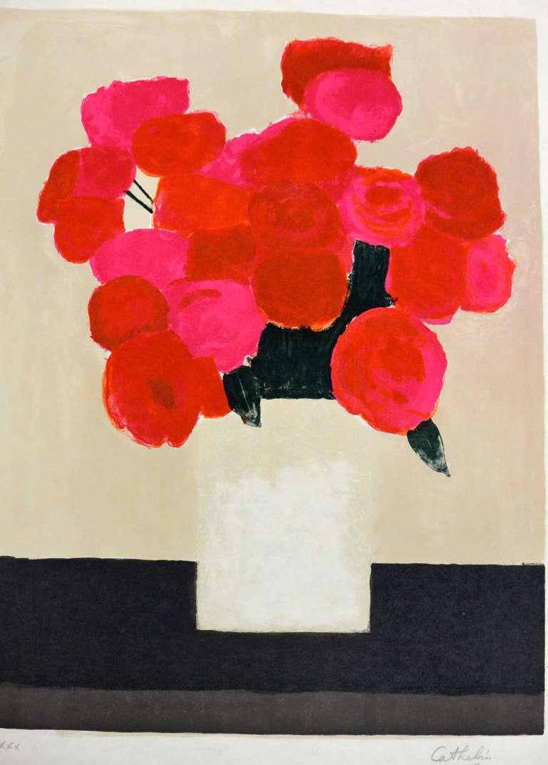 bernard cathelin bouquet de roses rouges la table noir. Black Bedroom Furniture Sets. Home Design Ideas