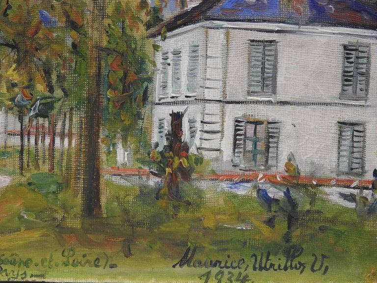 Entrée du pays a Saint-Aubin (Saone-et-Loire) - Post-Impressionist Painting by Maurice Utrillo