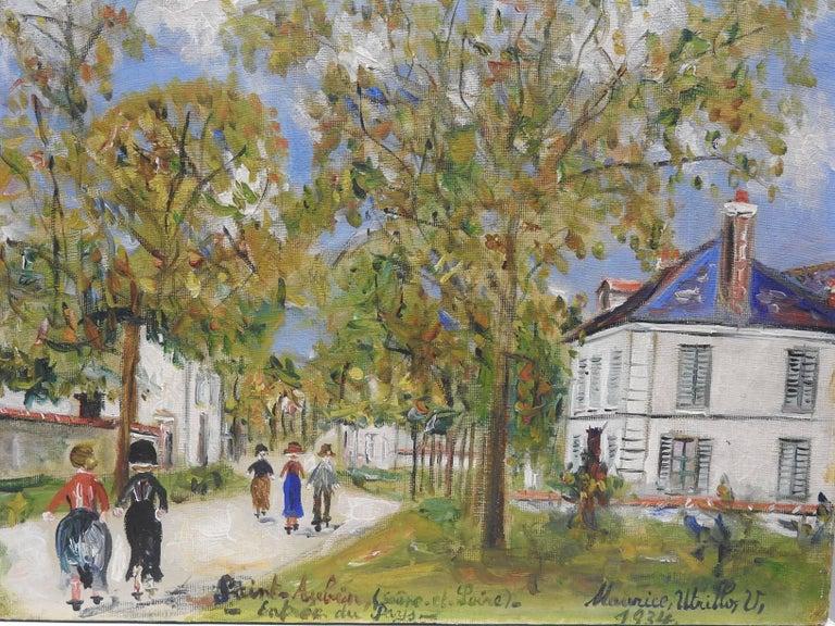 Entrée du pays a Saint-Aubin (Saone-et-Loire) - Painting by Maurice Utrillo