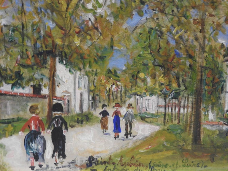 Entrée du pays a Saint-Aubin (Saone-et-Loire) - Gray Landscape Painting by Maurice Utrillo