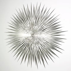 """Silver Sun No. 2"", Large Stainless Steel Abstract Wall Sculpture, Metal"