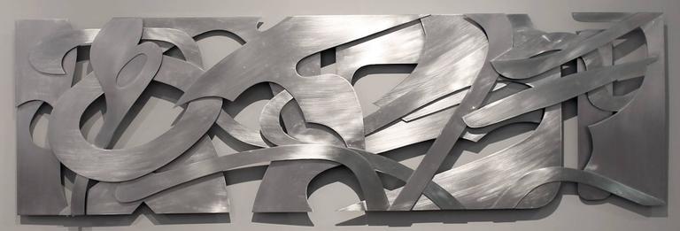 Velocity Metal aluminum wall relief sculpture horizontal