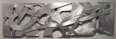 Velocity Metal aluminum wall relief sculpture horizontal