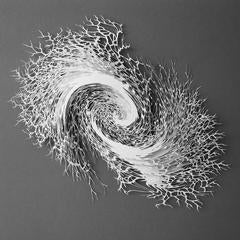 """Vortex"", Rogan Brown, Abstract Paper Wall Relief Sculpture, Hand Cut, Laser Cut"