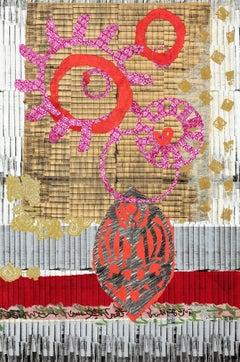 """Balancing Act"" Abstract, Mixed Media Lithograph Collage"