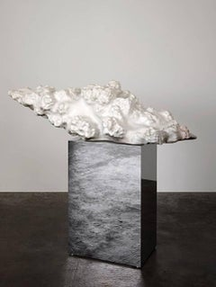 """Cumulus Stone No. 1"" Large Abstract Carved Marble Sculpture, Mirror Base"