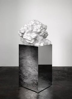 """Cumulus Stone No. 2"", Large Abstract Carved Marble Sculpture, Mirror Base"